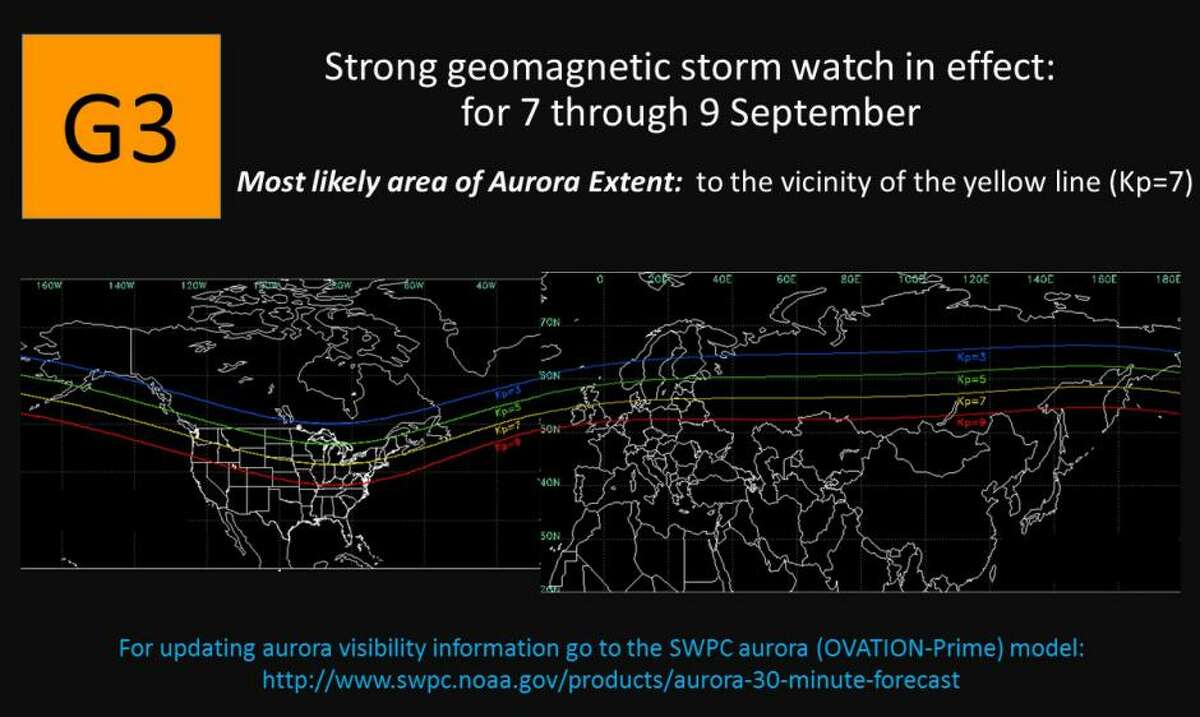 NOAA caption: The G3 (Strong) geomagnetic storm watch for the 7 September UTC-day remains in effect due to coronal mass ejection (CME) arrival and effects from the 4 September CME. Additionally, a G3 Watch is now in effect for the 8 and 9 September UTC-days in anticipation of the arrival of another CME associated with the X9.3 flare (R3-Strong radio blackout) on 6 September at 1202 UTC (0802 ET). Analysis indicates likely CME arrival late on 8 September into early 9 September. Keep checking our SWPC website for updates to the forecast.