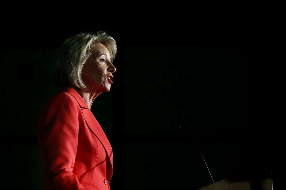 "Education Secretary Betsy DeVos declared that ""the era of 'rule by letter' is over"" in a speech on how sexual assault accusations are handled on campuses Thursday. Photo: Jacquelyn Martin, Associated Press"