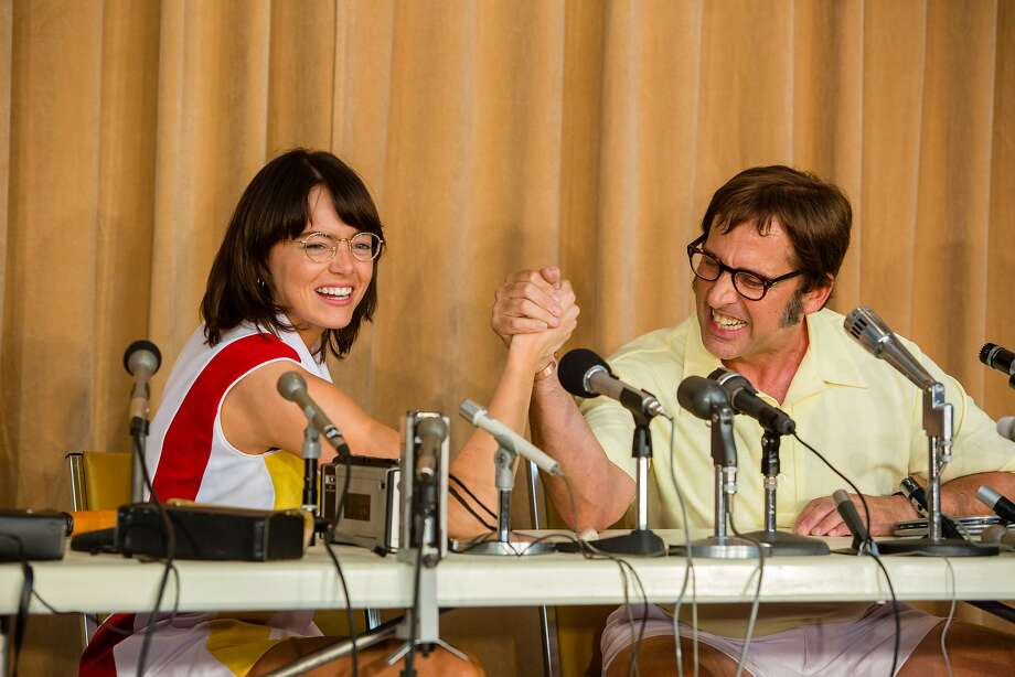 """Need combo cap: Above: Emma Stone (as Billie Jean King) and Steve Carell (as Bobby Riggs) in """"Battle of the Sexes."""" At right: King and Riggs at a press conference in 1973. Photo: Melinda Sue Gordon"""