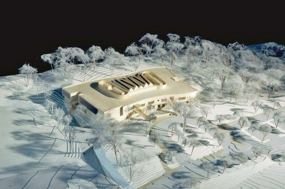 A model of the new New Lebanon School displayed in Byram Shubert Library. Photo: Contributed