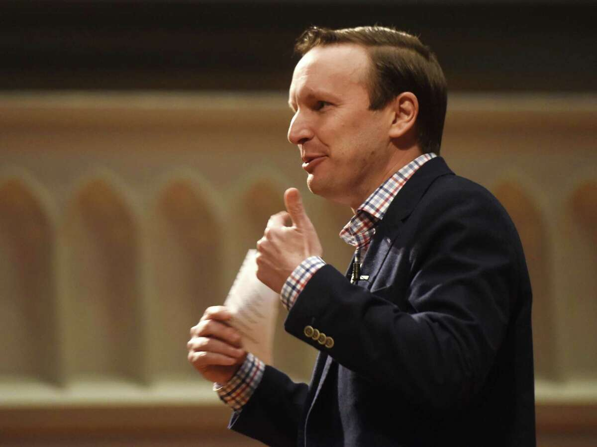U.S. Sen. Chris Murphy speaks during a town hall discussion on activism at Second Congregational Church in Greenwich, Conn. Sunday, Jan. 26, 2017.