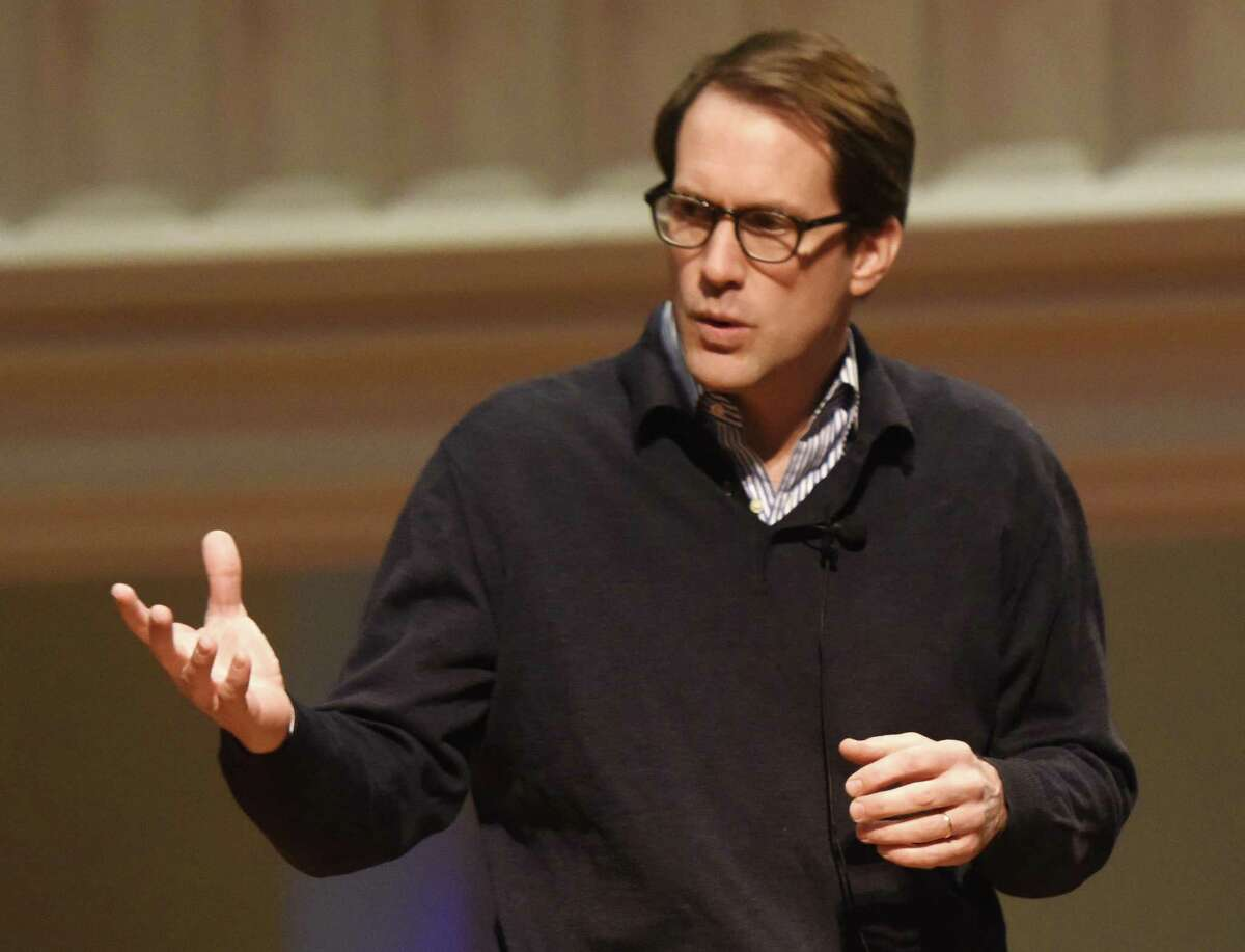 U.S. Rep. Jim Himes speaks during a town hall discussion on activism at Second Congregational Church in Greenwich, Conn. Sunday, Jan. 26, 2017.