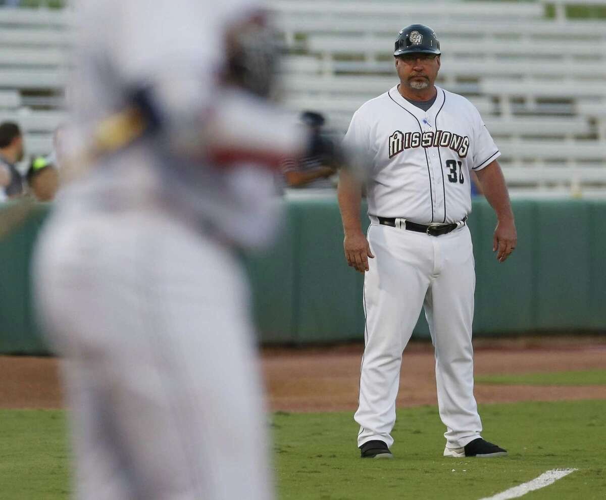 Missions manager Phillip Wellman coaches at third base against the Midland RockHounds in Game 1 of the Texas League South Division championship series at Wolff Stadium on Sept. 6, 2017.
