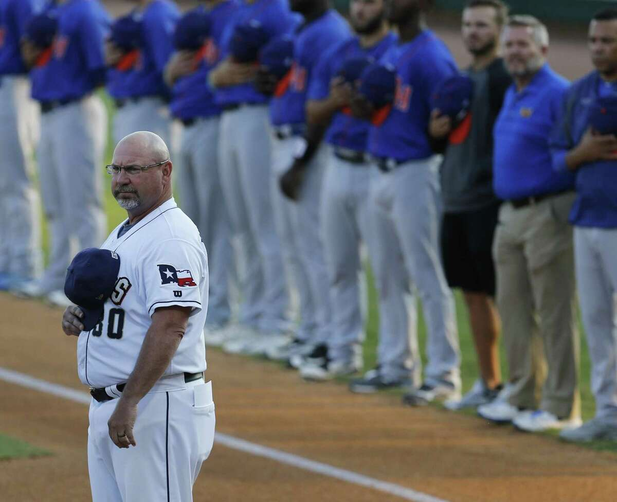 Missions manager Phillip Wellman stands for the national anthem playing against the Midland RockHounds in Game 1 of the Texas League South Division championship series at Wolff Stadium on Sept. 6, 2017.