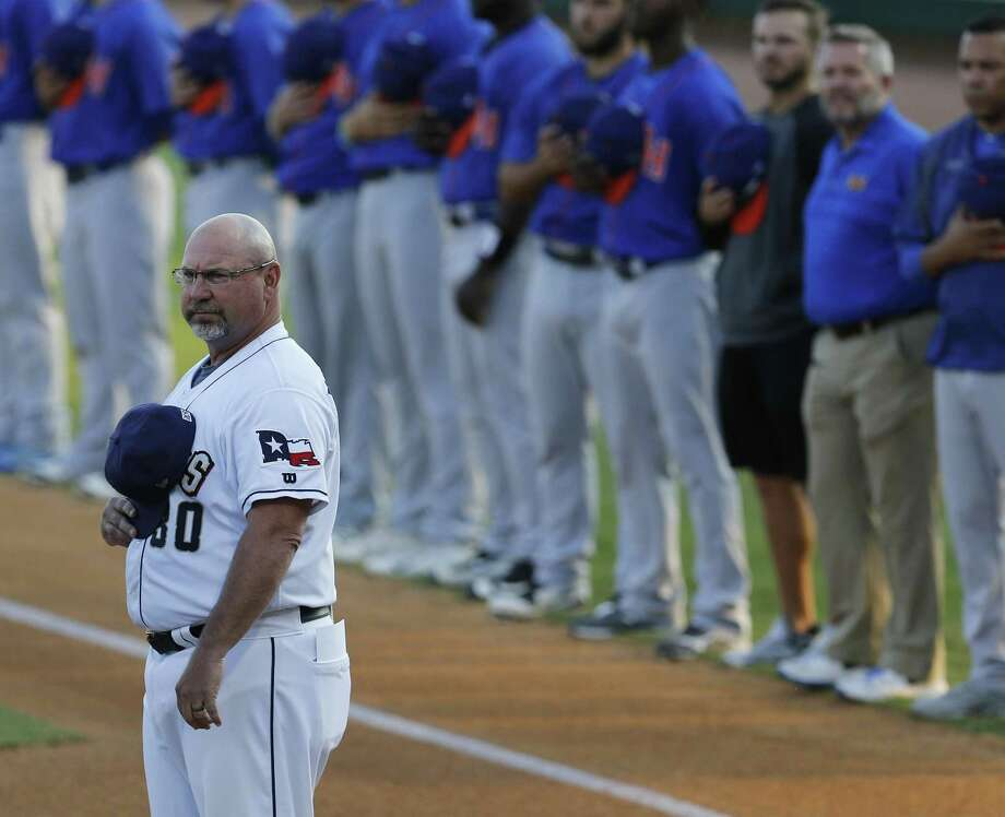 Missions manager Phillip Wellman stands for the national anthem playing against the Midland RockHounds in Game 1 of the Texas League South Division championship series at Wolff Stadium on Sept. 6, 2017. Photo: Kin Man Hui /San Antonio Express-News / ©2017 San Antonio Express-News