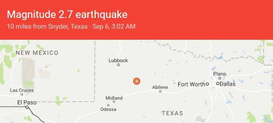 A 2.5 magnitude earthquake took place 6.2 miles north of Snyder around 4:37 p.m. Tuesday. A 2.7 magnitude earthquake took place less than 12 hours later -- around 3:02 a.m. Wednesday 10.6 miles north of Snyder. Photo: Google