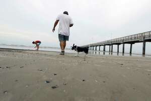 In this Sept. 2, 2017, photo, Bob Campbell and his dog Bellas visit the beach in Port Aransas, Texas, for the first time following Hurricane Harvey making land fall. Rockport and Port Aransas bore the brunt of one of the strongest hurricanes to hit the United States. (AP Photo/Eric Gay)