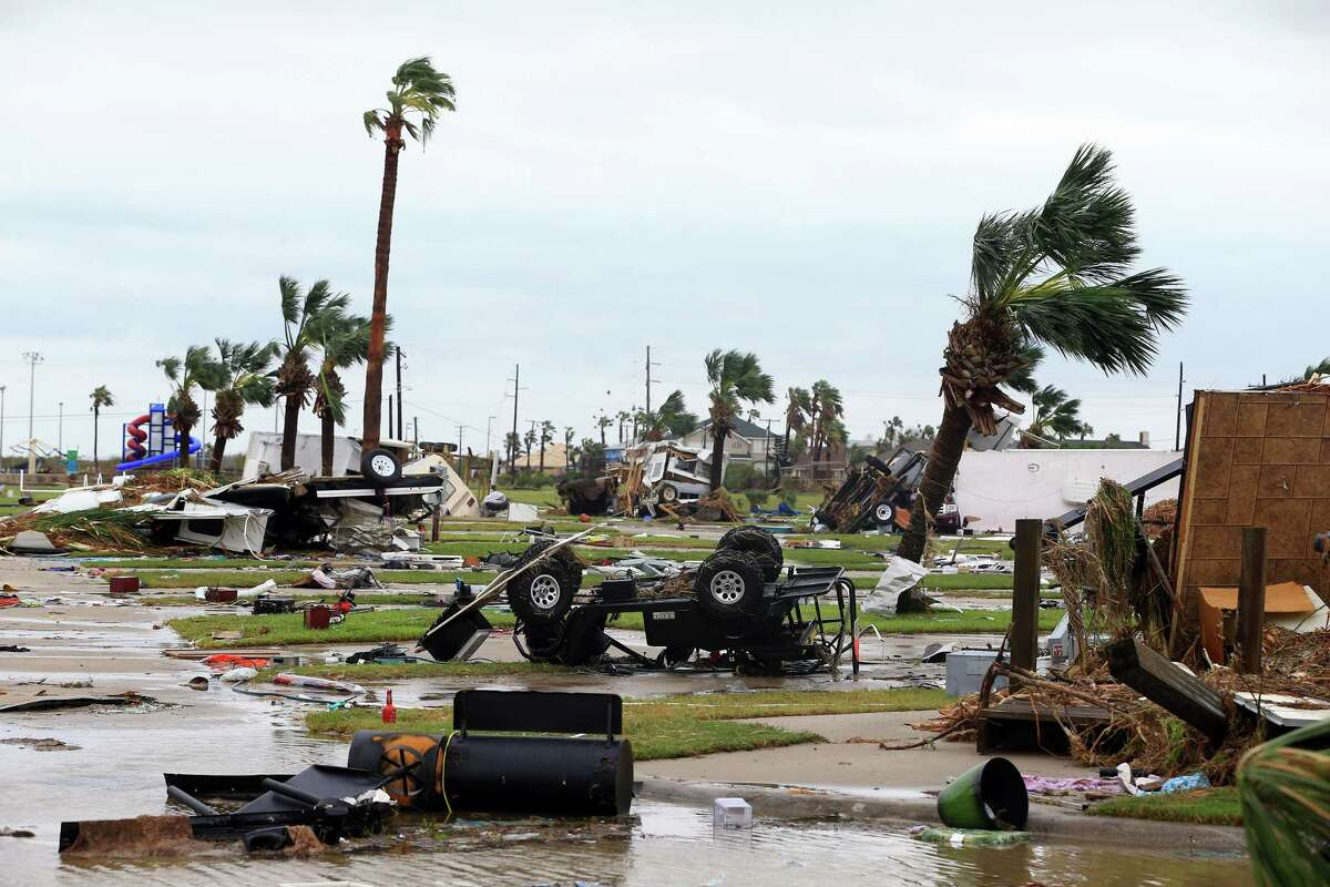 A mobile home park is destroyed after Hurricane Harvey landed in the Coast Bend area on Saturday, Aug. 26, 2017, in Port Aransas, Texas. (Gabe Hernandez/Corpus Christi Caller-Times/TNS)