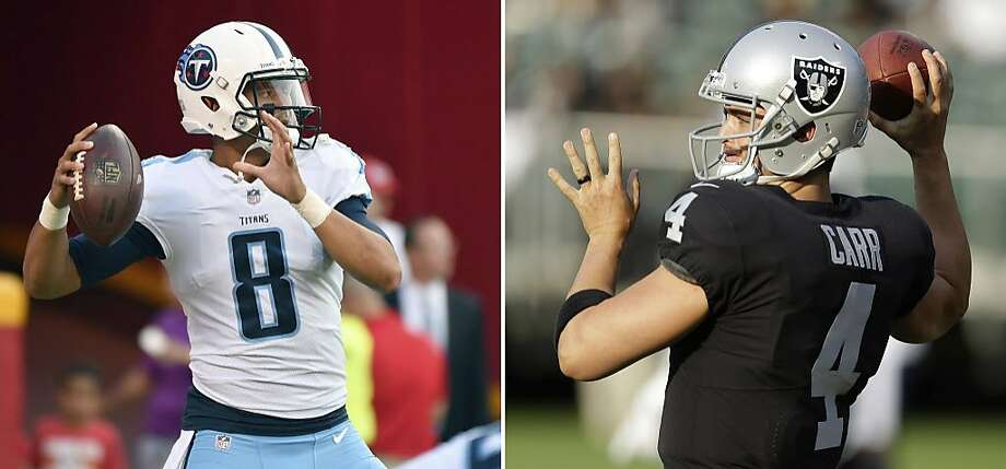 FILE - At left, in an Aug. 31, 2017, file photo, Tennessee Titans quarterback Marcus Mariota (8) warms up before an NFL preseason football game against the Kansas City Chiefs in Kansas City, Mo. At right, in an Aug. 19, 2017, file photo, Oakland Raiders quarterback Derek Carr warms up before an NFL preseason football game against the Los Angeles Rams, in Oakland, Calif. Carr and the Raiders open the season against Mariota and the Titans. (AP Photo/File) Photo: Associated Press