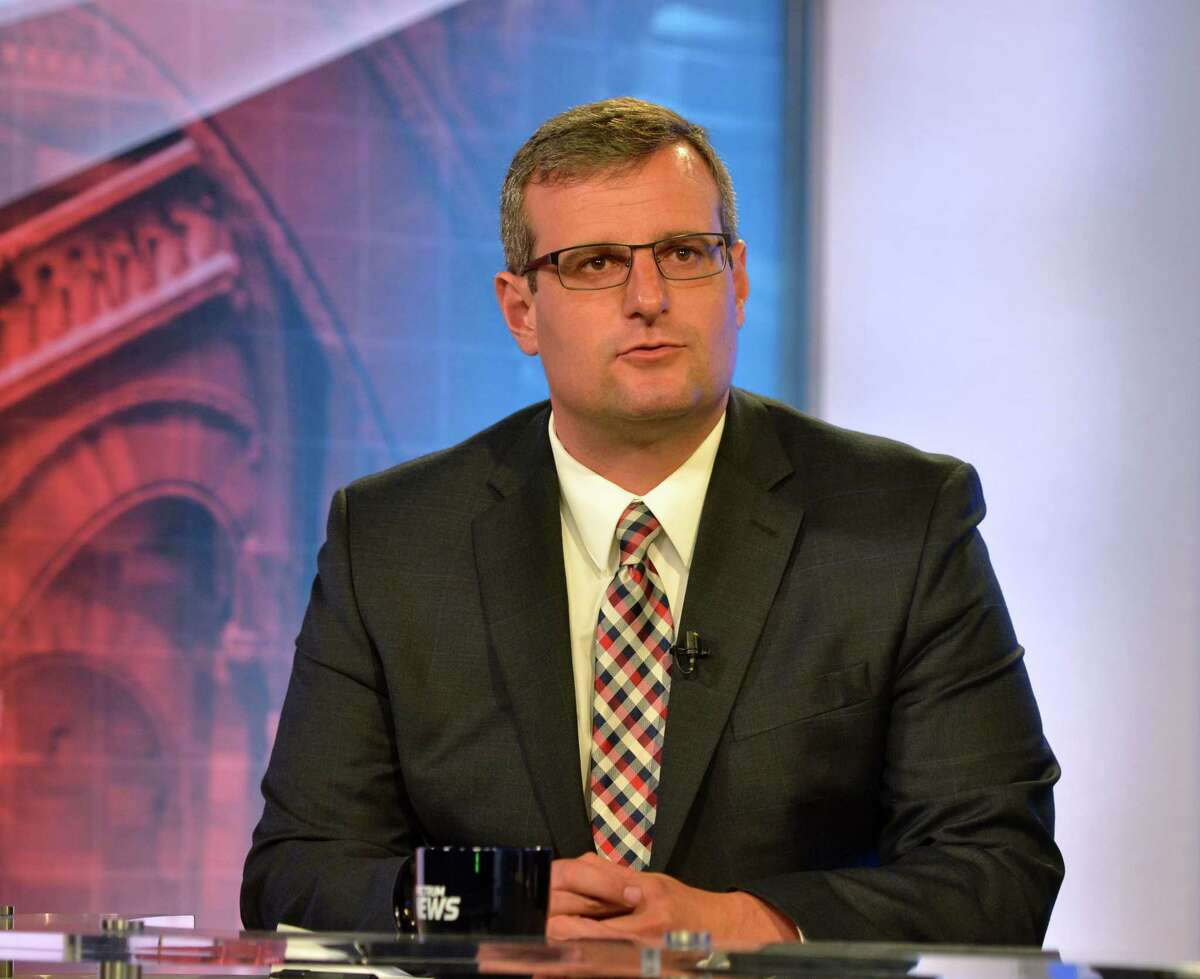 Republican candidate for Rensselaer County Executive, Chris Meyer takes part in a debate with opponent, Assemblyman Steve McLaughlin on Thursday, Sept. 7, 2017, at Spectrum News in Albany, N.Y. (Pool photo)