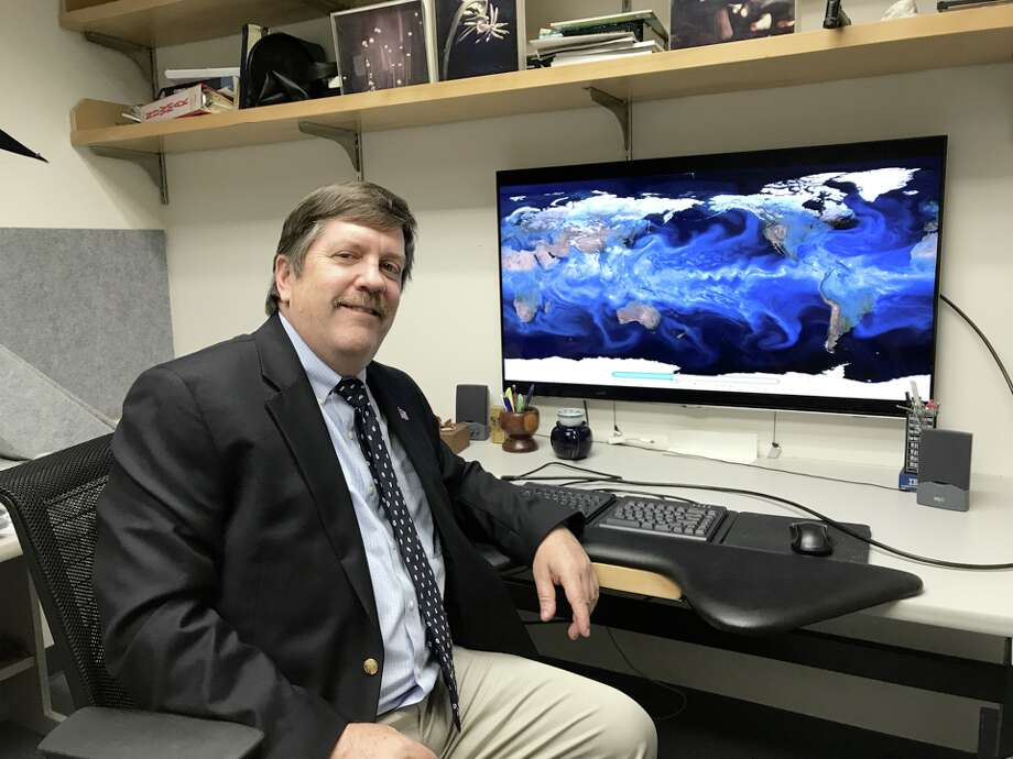 Michael Wehner, a senior staff scientist at Lawrence BerkeleyNational Laboratory, at his computer on Thursday, Sep. 7, 2017. Photo: Rachel Lance