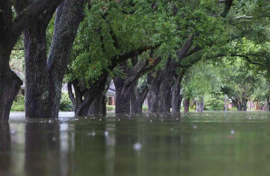 The streets of Meyerland are full of water, Sunday, Aug. 27, 2017, in Houston.  (Mark Mulligan / Houston Chronicle) Photo: Mark Mulligan, Staff Photographer / 2017 Mark Mulligan / Houston Chronicle