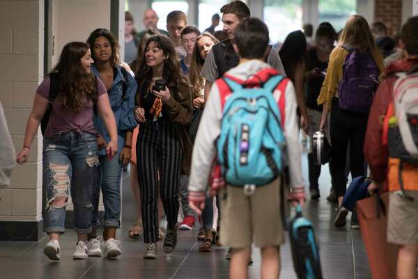 Students crowd the halls on the first day of class at the Bethlehem Central High School Thursday Sept. 7, 2017 in Delmar, N.Y. (Skip Dickstein/Times Union)