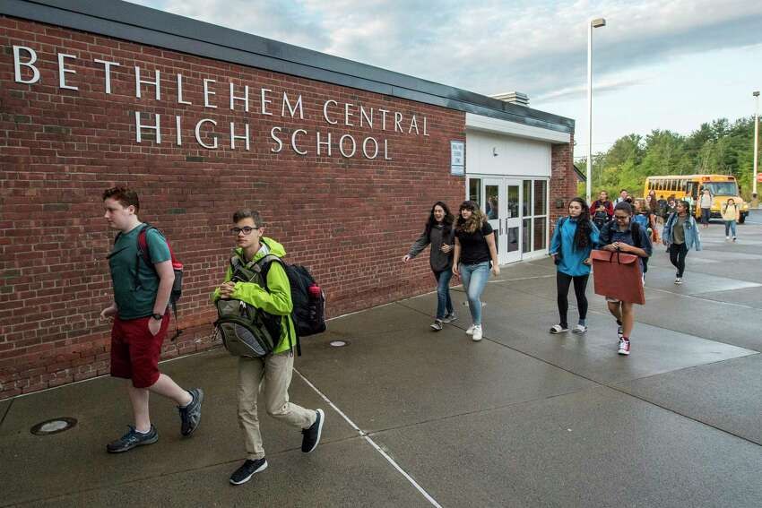 Students arrive for the first day of class at the Bethlehem Central High School Thursday Sept. 7, 2017 in Delmar, N.Y. (Skip Dickstein/Times Union)