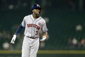 Houston Astros' Cameron Maybin rounds the bases after hitting a two-run home run against the Seattle Mariners during a baseball game Wednesday, Sept. 6, 2017, in Seattle. (AP Photo/John Froschauer)