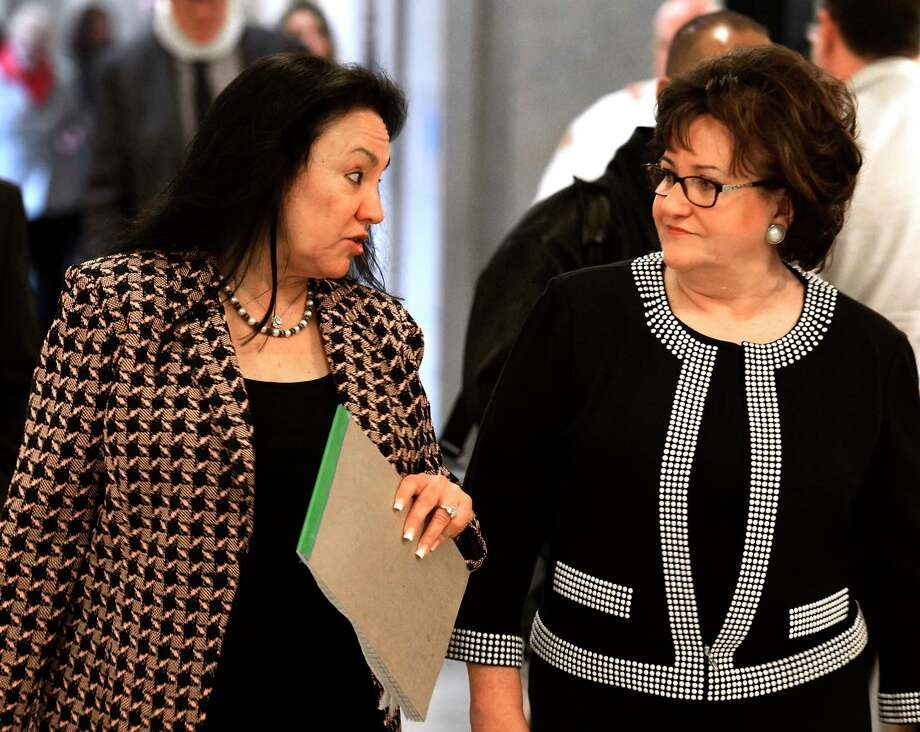 Chancellor elect Betty Rosa, left, speaks with Commissioner of Education Maryellen Elia, right, after her election during a meeting of the New York State Board of Regents on Monday, March 21, 2016, at the Education Department building in Albany, N.Y. Rosa will take office on April 1st replacing Merryl H. Tisch. (Skip Dickstein/Times Union) Photo: SKIP DICKSTEIN / 10035899A