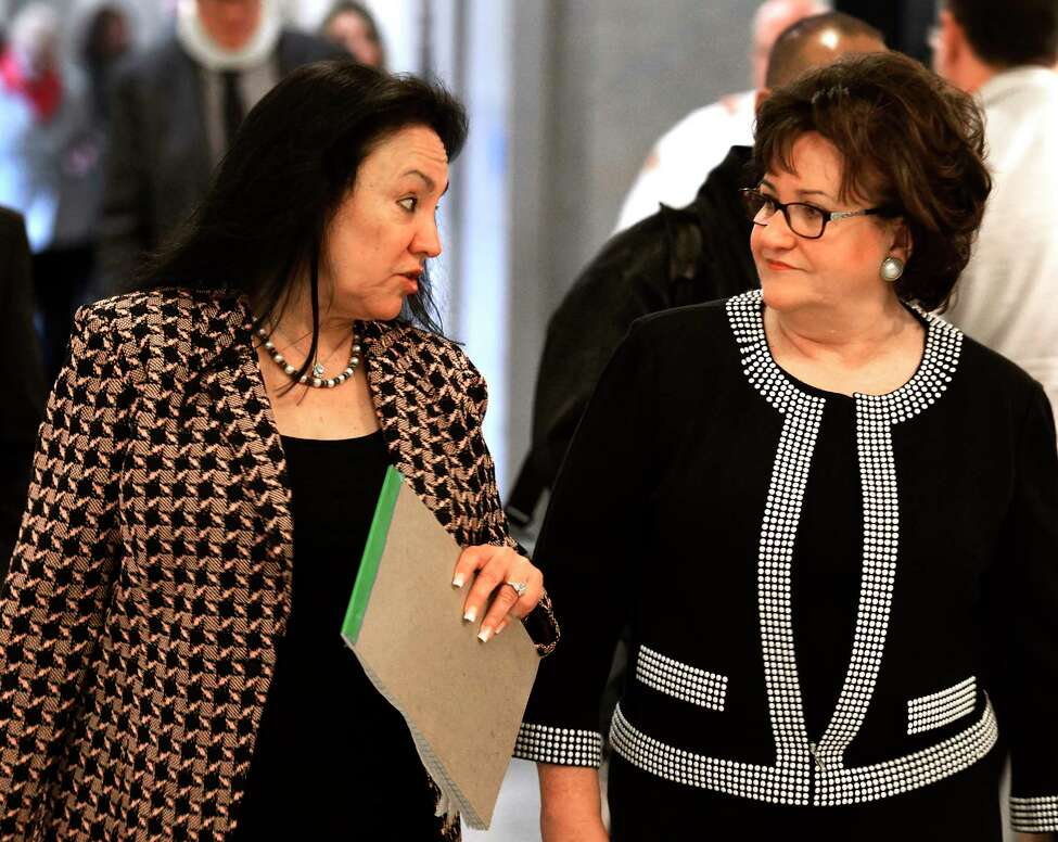Chancellor elect Betty Rosa, left, speaks with Commissioner of Education Maryellen Elia, right, after her election during a meeting of the New York State Board of Regents on Monday, March 21, 2016, at the Education Department building in Albany, N.Y. Rosa will take office on April 1st replacing Merryl H. Tisch. (Skip Dickstein/Times Union)