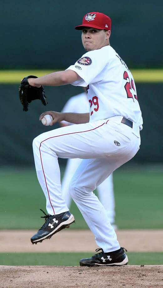 Tri-City ValleyCats' Alex House (29) pitches against the Connecticut Tigers during a minor league baseball game on Thursday, Sept. 7, 2017, in Troy, N.Y. (Hans Pennink / Special to the Times Union)  ORG XMIT: HP115 Photo: Hans Pennink / Hans Pennink