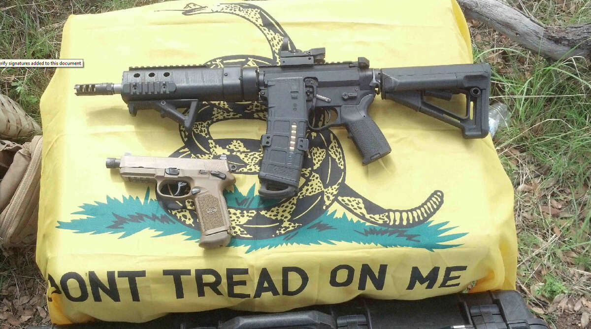 An image of a rifle seized by investigators during an investigation into Cliven Bundy bodyguard Schuyler Barbeau is pictured in a law enforcement photo.