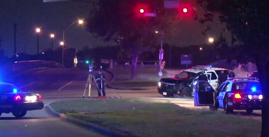 An elderly woman sustained minor injuries after a collision late Thursday in south Houston between her car and police vehicle. (Metro Video) Photo: Metro Video