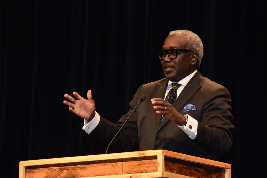 Delvin Atchison, Director of the Great Commission Team of the Texas Baptists, addresses faculty, staff and students during the Willson Lectures chapel on Wednesday at Wayland Baptist University.