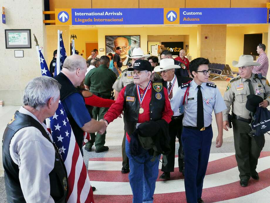 Recipients of the 2017 and 2018 Laredo Honor Flight were introduced in a ceremony, Thursday, September 7, 2017 at the Laredo International Airport. City officials, law enforcement agencies and the community attended the event. Photo: Cuate Santos/Laredo Morning Times