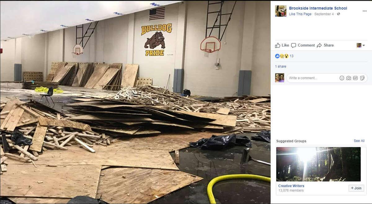 Brookside Intermediate School in Friendswood during Harvey. Image courtesy of Brookside Intermediate School facebook page.