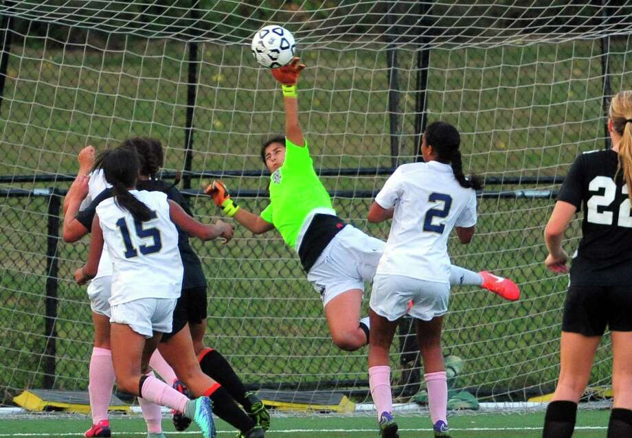 Notre Dame-Fairfield goalie Samantha Camacho will play a key role in the success of the Lancers this season. Photo: Christian Abraham / Hearst Connecticut Media / Connecticut Post