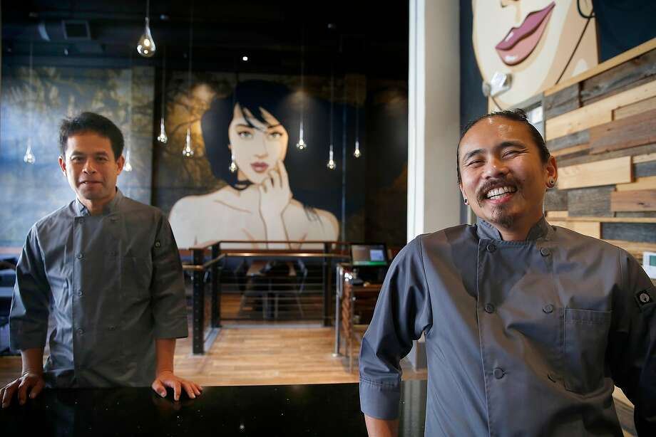 Tom Silargorn (left), owner of Lers Ros and new restaurant Esan Classic, with chef Chanon Hutasingh at Esan Classic. Right: Pla Sam Ros. Photo: Liz Hafalia, The Chronicle