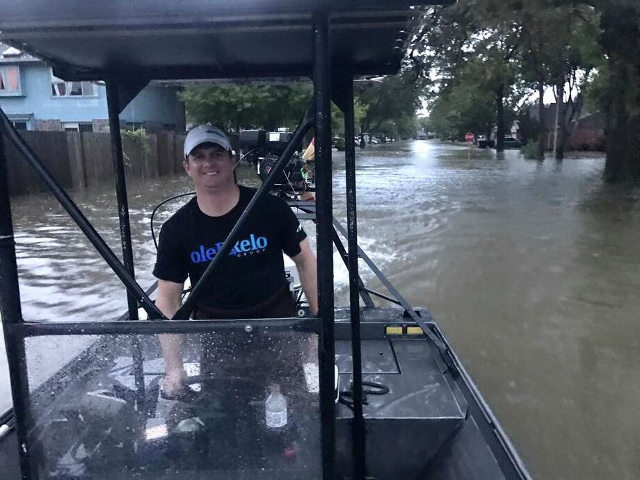 Blake Oler joined his brother and friends in water rescue efforts in Houston.