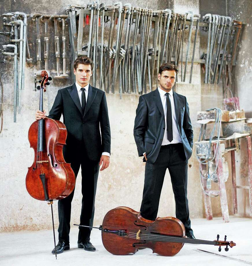 Stjepan Hauser, right, and Luka Sulic of 2Cellos with their acoustic cellos. Photo: Contributed