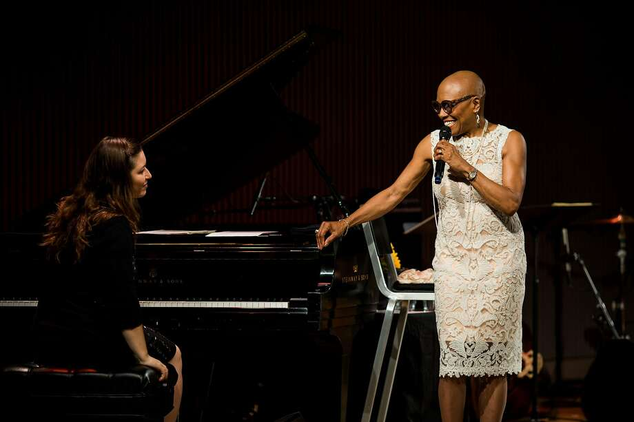 Dee Dee Bridgewater introduces the pianist, Carmen Staaf, at the SFJAZZ Center in San Francisco, Calif. Thursday, September 7, 2017. Photo: Mason Trinca, Special To The Chronicle