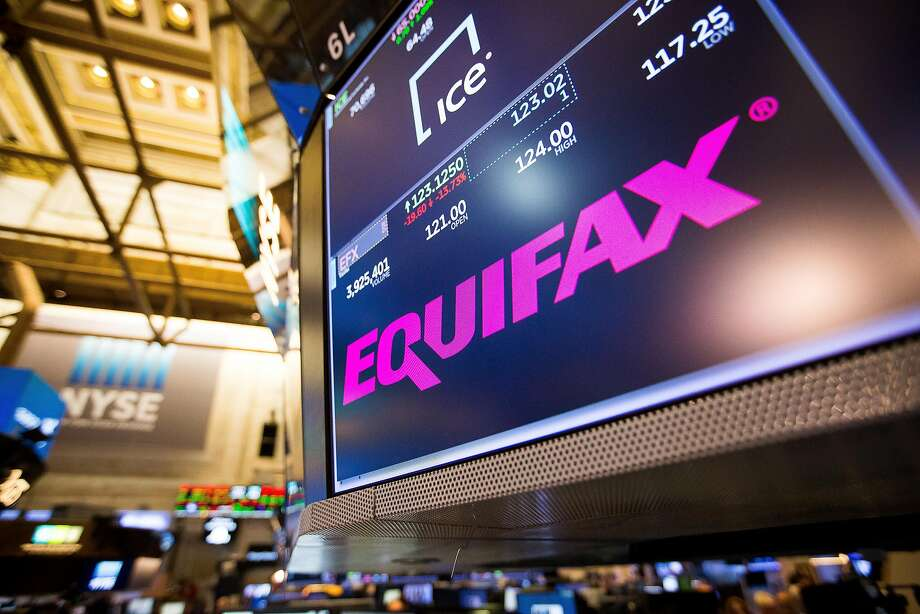 A monitor displays Equifax Inc. signage on the floor of the New York Stock Exchange (NYSE) in New York, U.S., on Friday, Sept. 8, 2017. The dollar fell to the weakest in more than two years, while stocks were mixed as natural disasters damped expectations for another U.S. rate increase this year. Photographer: Michael Nagle/Bloomberg Photo: Michael Nagle, Bloomberg