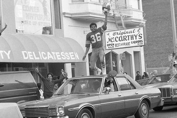 San Francisco 49ers fans party in the Mission District after the team's Super Bowl XVI victory. Jan. 24, 1982.