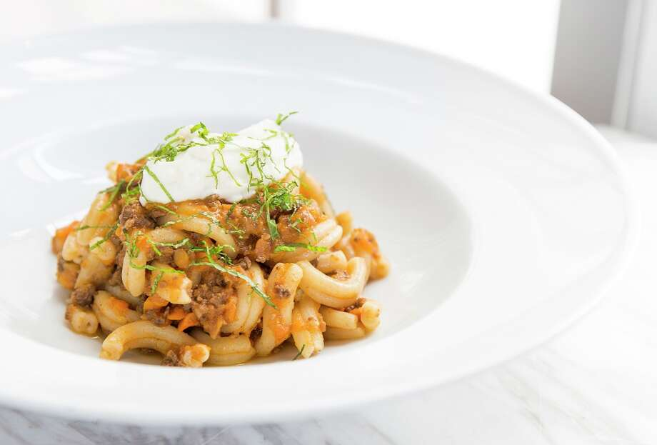 Duck heart bolognese pasta with whipped ricotta at One Fifth Romance Languages, the second iteration of chef Chris Shepherd's One Fifth restaurant concept. Photo: Julie Soefer