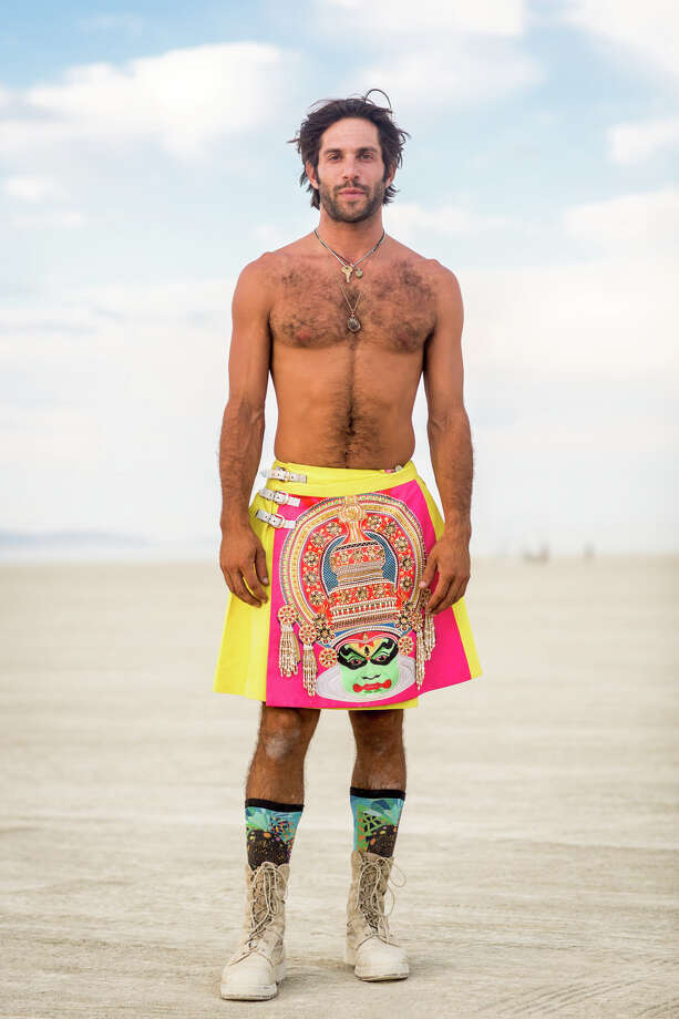 Alex Regenstreich from Venice Beach wearing a Manish Arora Kilt at Burning Man 2017. Photo: Sidney Erthal / Burning Man