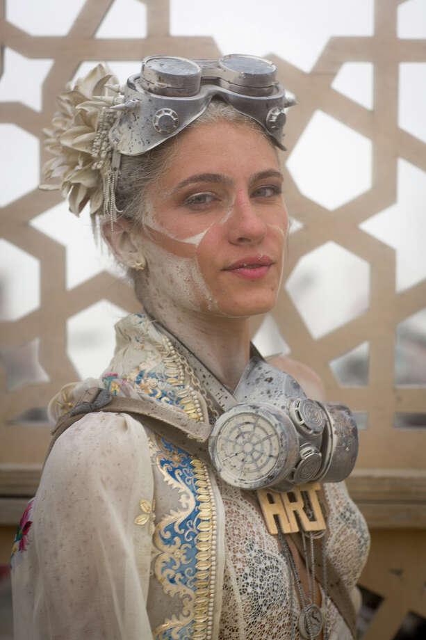 Italian model Joy Borrello at Burning Man 2017. Photo: Sidney Erthal / Burning Man