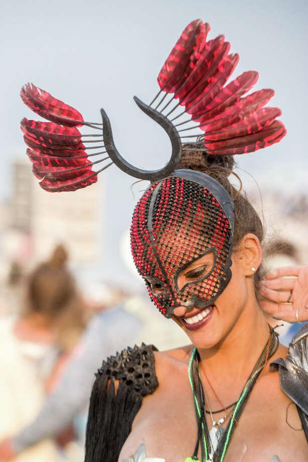 Dubai based fashion designer Karen El-Khazen at Burning Man 2017. Photo: Sidney Erthal / Burning Man