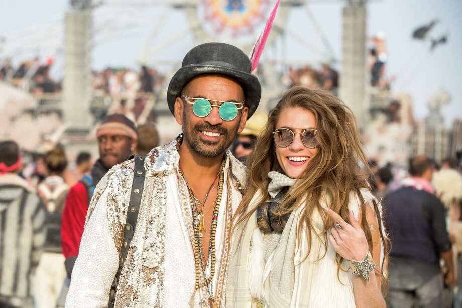Tech enterpreneur Zaid Fredericks and Italian model Joy Borrello at Burning Man 2017. Photo: Sidney Erthal / Burning Man