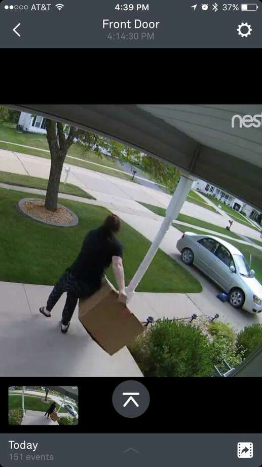 """With the help of social media, caught an alleged """"porch pirate"""" who swiped deliver packages from the front of their Iowa home late Wednesday. (Lindsay Houston)"""