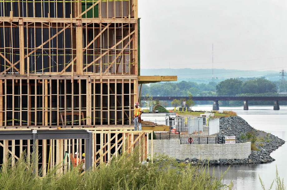 Construction continues on the Waterfront townhomes at the Mohawk Harbor Development Tuesday Sept. 5, 2017 in Schenectady, NY.  (John Carl D'Annibale / Times Union) Photo: John Carl D'Annibale / 20041466A