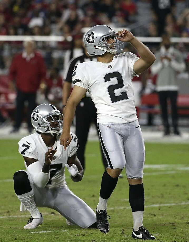 Oakland Raiders kicker Giorgio Tavecchio (2) during an NFL preseason football game against the Arizona Cardinals, Saturday, Aug. 12, 2017, in Glendale, Ariz. (AP Photo/Rick Scuteri) Photo: Rick Scuteri, Associated Press