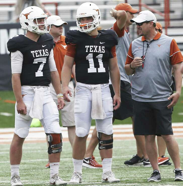 Quarterbacks Shane Buechele, left, and Sam Ehlinger are both available to play for the Longhorns against TCU, coach Tom Herman said Monday.