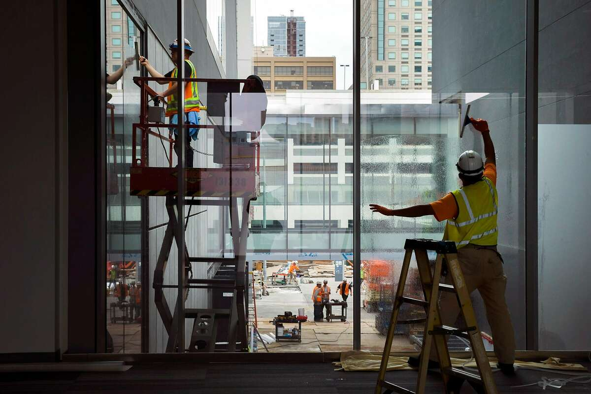 Construction continues for the expansion of the Moscone Center South on Thursday, Sept. 7, 2017, in San Francisco, Calif.