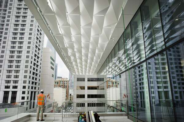 The metal canopy above the third floor at the Moscone Center South as construction continues on Thursday, Sept. 7, 2017, in San Francisco, Calif.