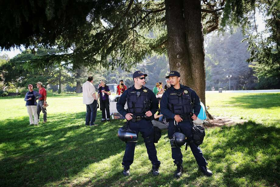 Police officers prepare for an August protest at UC Berkeley. Photo: Gabrielle Lurie, The Chronicle