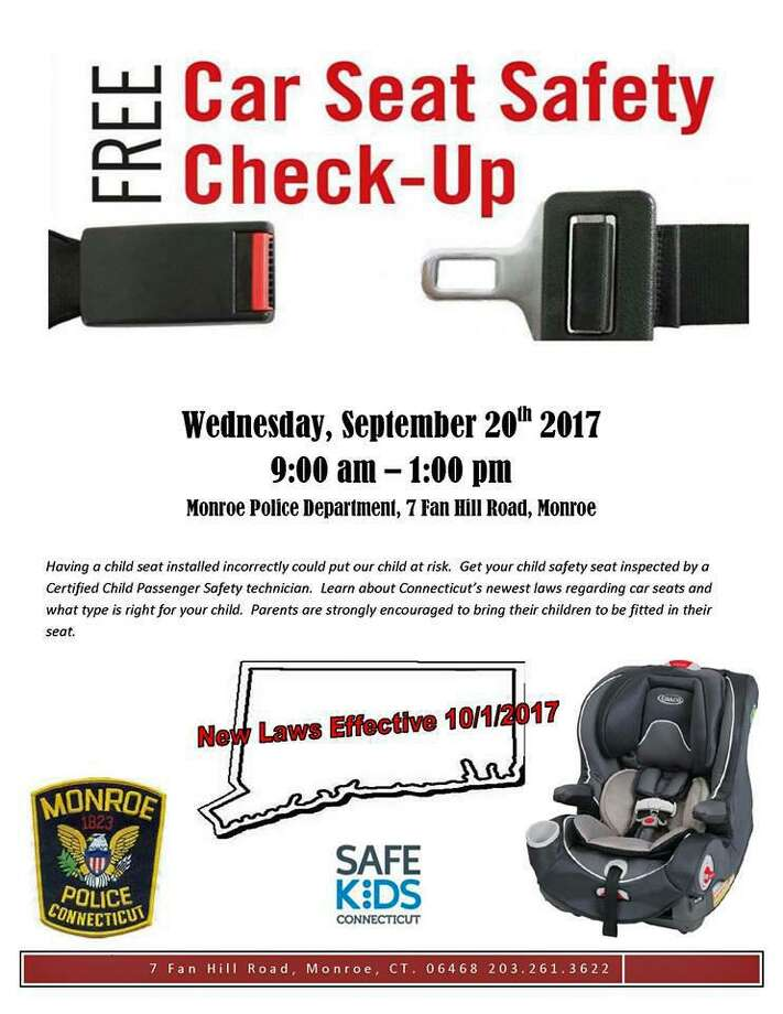 On Wednesday, Sept. 20, 2017, the Monroe Police Department is hosting an event where they will inspect child safety seats and educate parents on the new laws. Residents and non-residents are invited to the join the department in the free event. Photo: Contributed Photo / Monroe Police Department / Contributed Photo / Connecticut Post Contributed
