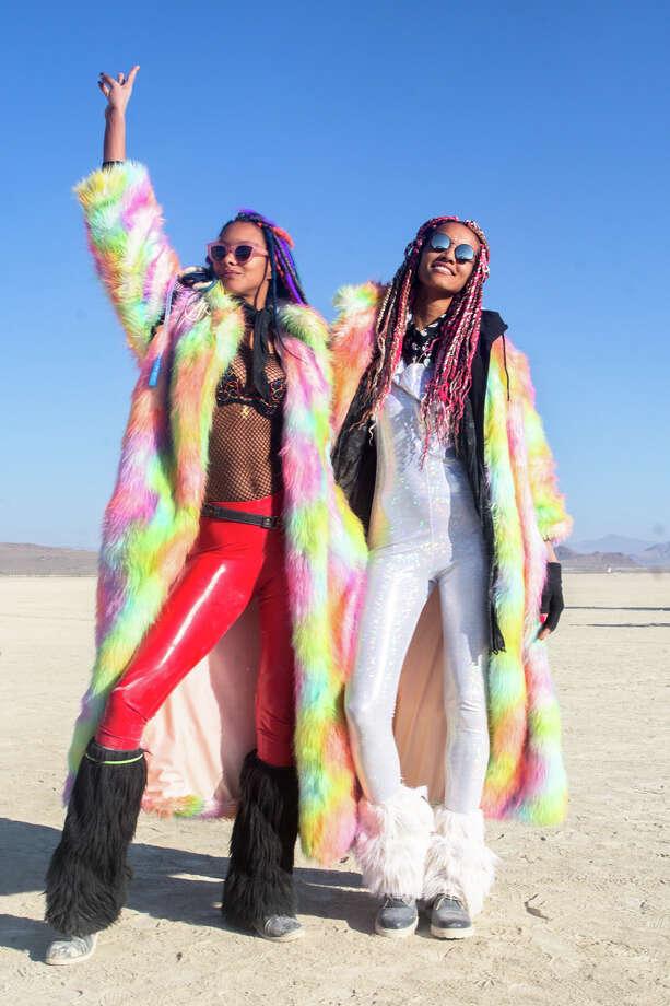 Brazilian top model Lais Ribeiro and friend at Burning Man 2017. Photo: Sidney Erthal / Burning Man