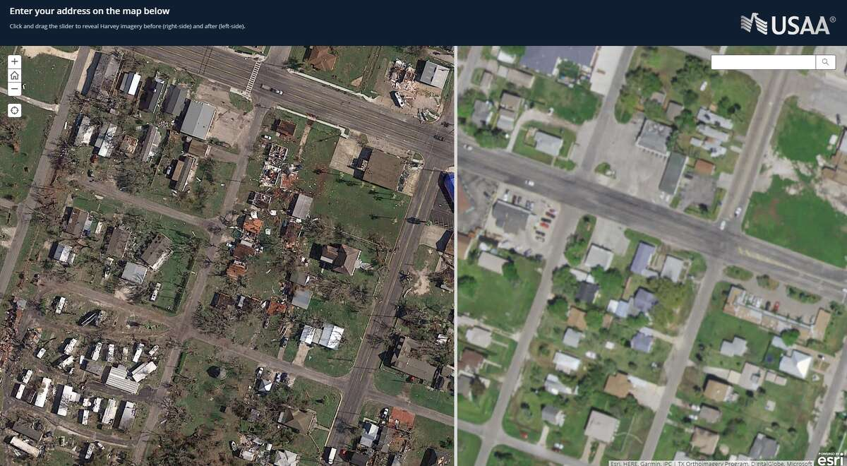 A USAA mapping tool shows an area of Rockport, Texas after Harvey landed as a Category 4 hurricane on Aug. 25, 2017. On the left, is the aftermath of the storm, and the right image is the before.