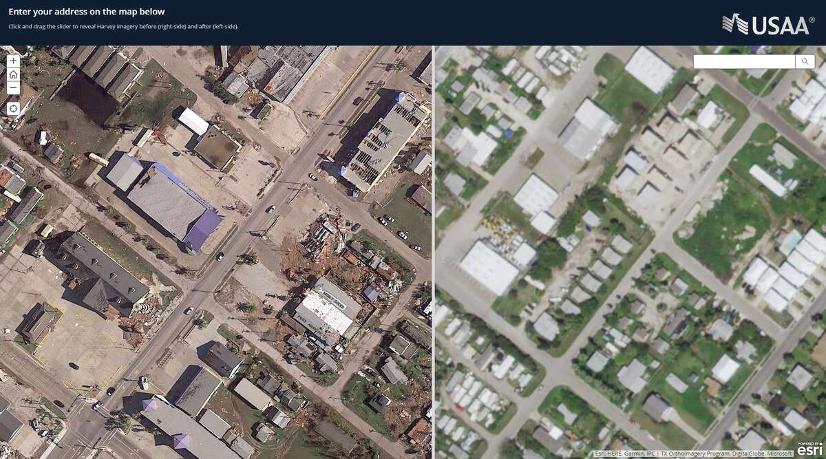 A USAA shows a strip of shops and businesses in Port Aransas before and afterHarvey landed as a Category 4 hurricane on Aug. 25, 2017. Winton's Island Candy, Moby Dick's, and Spanky's Liquor can be seen after the storm on the left.